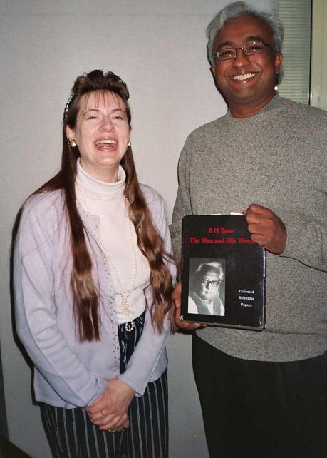 Sharon Ann with Falguni Sarkar in a BBC studiio during the recording of the programme