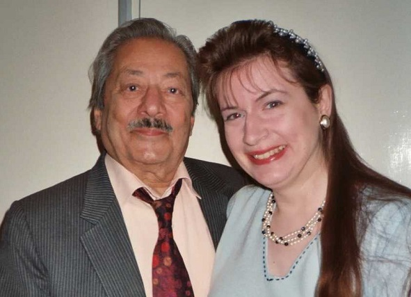 Saeed Jaffrey and Sharon Ann Holgate after recording part of The Indian Particle Man