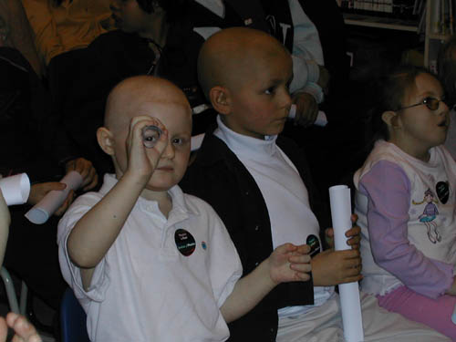 Some of the children who attended Sharon Ann's talk at Great Ormond Street Hospital in 2003