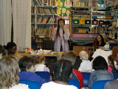 Sharon Ann demonstrating one of the science experiments during her talk at Great Ormond Street children's hospital in 2003
