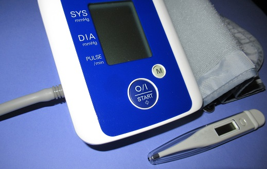 A home blood pressure monitor and digital thermometer